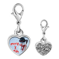 Link Charm Bracelet - 925  sterling silver merry xmas snowman photo heart frame link charm Image.