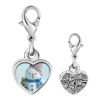 Link Charm Bracelet - 925  sterling silver snowman with christmas tree photo heart frame link charm Image.