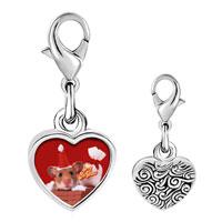 Link Charm Bracelet - 925  sterling silver santa claus mouse photo heart frame link charm Image.
