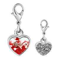 Link Charm Bracelet - 925  sterling silver three christmas mice photo heart frame link charm Image.