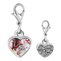 Link Charm Bracelet - 925  sterling silver mouse christmas party photo heart frame link charm Image.