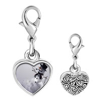 Link Charm Bracelet - 925  sterling silver happy snowman black photo heart frame link charm Image.