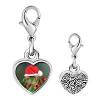 Link Charm Bracelet - 925  sterling silver holly hopping santa frog photo heart frame link charm Image.