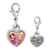 Link Charm Bracelet - 925  sterling silver two fashion women primping photo heart frame link charm Image.