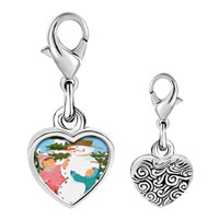 Link Charm Bracelet - 925  sterling silver making a snowman photo heart frame link charm Image.
