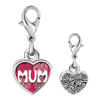 Link Charm Bracelet - 925  sterling silver call your mother mum photo heart frame link charm Image.
