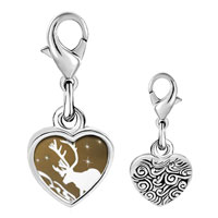 Link Charm Bracelet - 925  sterling silver christmas rudolph reindeer in the snow photo heart frame link charm Image.