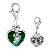 Link Charm Bracelet - 925  sterling silver snowboard bunny photo heart frame link charm Image.
