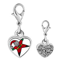Link Charm Bracelet - 925  sterling silver snow angel santa photo heart frame link charm Image.