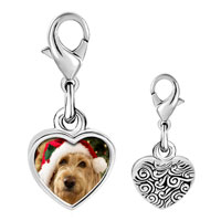 Link Charm Bracelet - 925  sterling silver golden retriever santa photo heart frame link charm Image.