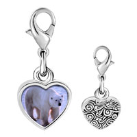 Link Charm Bracelet - 925  sterling silver white polar bear photo heart frame link charm Image.