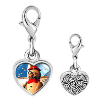 Link Charm Bracelet - 925  sterling silver snowman in the snow photo heart frame link charm Image.