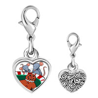 Link Charm Bracelet - 925  sterling silver mice eating gingerbread man cookie photo heart frame charm pendant with lobster clasp for charms bracelet or necklace Image.