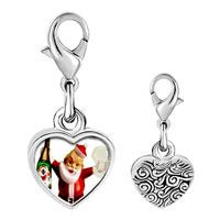 Link Charm Bracelet - 925  sterling silver champagne santa photo heart frame link charm Image.