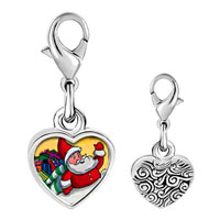 Link Charm Bracelet - 925  sterling silver santa and gifts photo heart frame link charm Image.