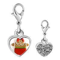 Link Charm Bracelet - 925  sterling silver holiday cookie photo heart frame link charm Image.