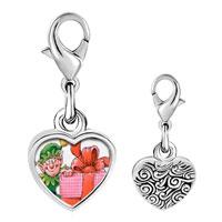 Link Charm Bracelet - 925  sterling silver santa gift helper photo heart frame link charm Image.