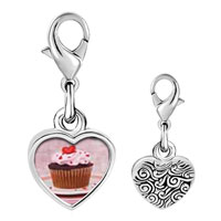Link Charm Bracelet - 925  sterling silver heart topped cupcake photo heart frame link charm Image.