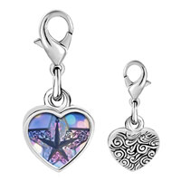 Link Charm Bracelet - 925  sterling silver christmas star photo heart frame link charm Image.