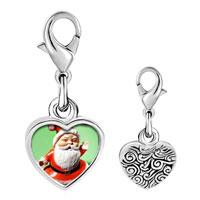 Link Charm Bracelet - 925  sterling silver waving santa claus photo heart frame link charm Image.