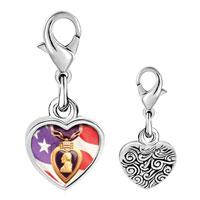 Link Charm Bracelet - 925  sterling silver american flag purple heart photo heart frame link charm Image.