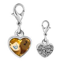 Link Charm Bracelet - 925  sterling silver hanukkah holiday dreidel photo heart frame link charm Image.