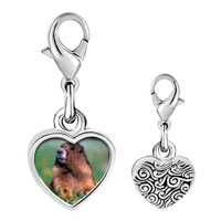 Link Charm Bracelet - 925  sterling silver happy digging gopher photo heart frame link charm Image.