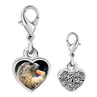 Link Charm Bracelet - 925  sterling silver squirrel eating carrot animal photo heart frame link charm Image.