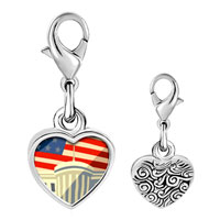 Link Charm Bracelet - 925  sterling silver american flag whitehouse photo heart frame link charm Image.