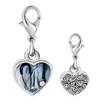 Link Charm Bracelet - 925  sterling silver heart stethoscope photo heart frame link charm Image.