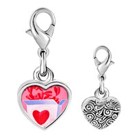 Link Charm Bracelet - 925  sterling silver pink love box photo heart frame link charm Image.