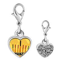 Link Charm Bracelet - 925  sterling silver kwanzaa kinara candles holiday photo heart frame link charm Image.