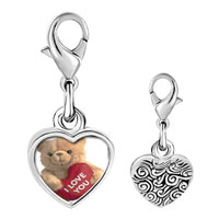 Link Charm Bracelet - 925  sterling silver i love you bear photo heart frame link charm Image.