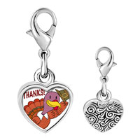 Link Charm Bracelet - 925  sterling silver turkey giving thanks photo heart frame link charm Image.