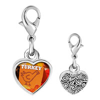 Link Charm Bracelet - 925  sterling silver turkey card photo heart frame link charm Image.