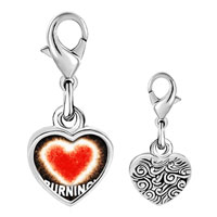 Link Charm Bracelet - 925  sterling silver burning with love heart photo heart frame link charm Image.