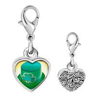 Link Charm Bracelet - 925  sterling silver ireland shamrock hat photo heart frame link charm Image.