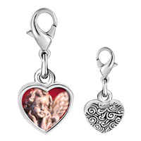Link Charm Bracelet - 925  sterling silver gazing cherub angel photo heart frame link charm Image.