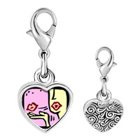 Link Charm Bracelet - 925  sterling silver kiss of love photo heart frame link charm Image.