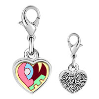 Link Charm Bracelet - 925  sterling silver love heart puzzle photo heart frame link charm Image.