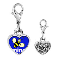 Link Charm Bracelet - 925  sterling silver bee mine photo heart frame link charm Image.