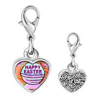 Link Charm Bracelet - 925  sterling silver happy easter basket photo heart frame link charm Image.