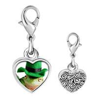 Link Charm Bracelet - 925  sterling silver st.  patricks day frog photo heart frame link charm Image.
