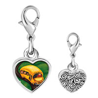 Link Charm Bracelet - 925  sterling silver yellow school bus photo heart frame link charm Image.