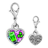 Link Charm Bracelet - 925  sterling silver green beer broochphoto heart frame link charm Image.