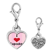 Link Charm Bracelet - 925  sterling silver i heart cupcakes photo heart frame link charm Image.