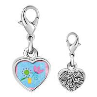 Link Charm Bracelet - 925  sterling silver pink tulip flower photo heart frame link charm Image.