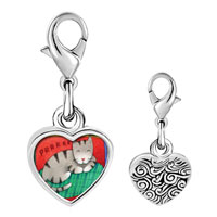 Link Charm Bracelet - 925  sterling silver sleeping kitty cat photo heart frame link charm Image.