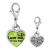 Link Charm Bracelet - 925  sterling silver love me love my dogs photo heart frame link charm Image.