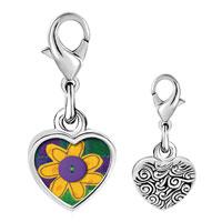 Link Charm Bracelet - 925  sterling silver quilted flower photo heart frame link charm Image.